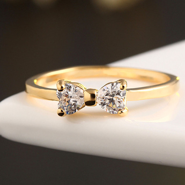 Shining Life Brand Fashion Gold Color Cz Rings Finger Crystal Bow