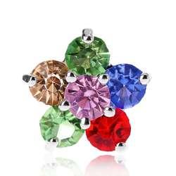 Блеск горный хрусталь Радуга пять лепестков цветок форма декоративные пуговицы с металлической петлей хвостовиком отверстие швейный