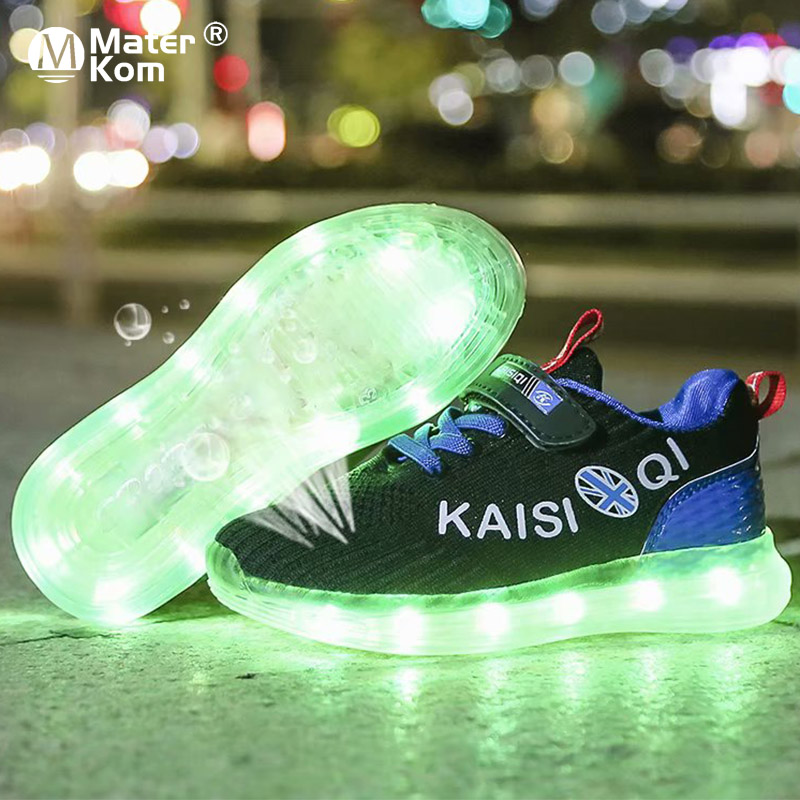 Size 25-35 2019 New Arrival Kids Shoes For Girl Boys Glowing Luminous Sneakers With Light Children's LED Shoes USB Charging