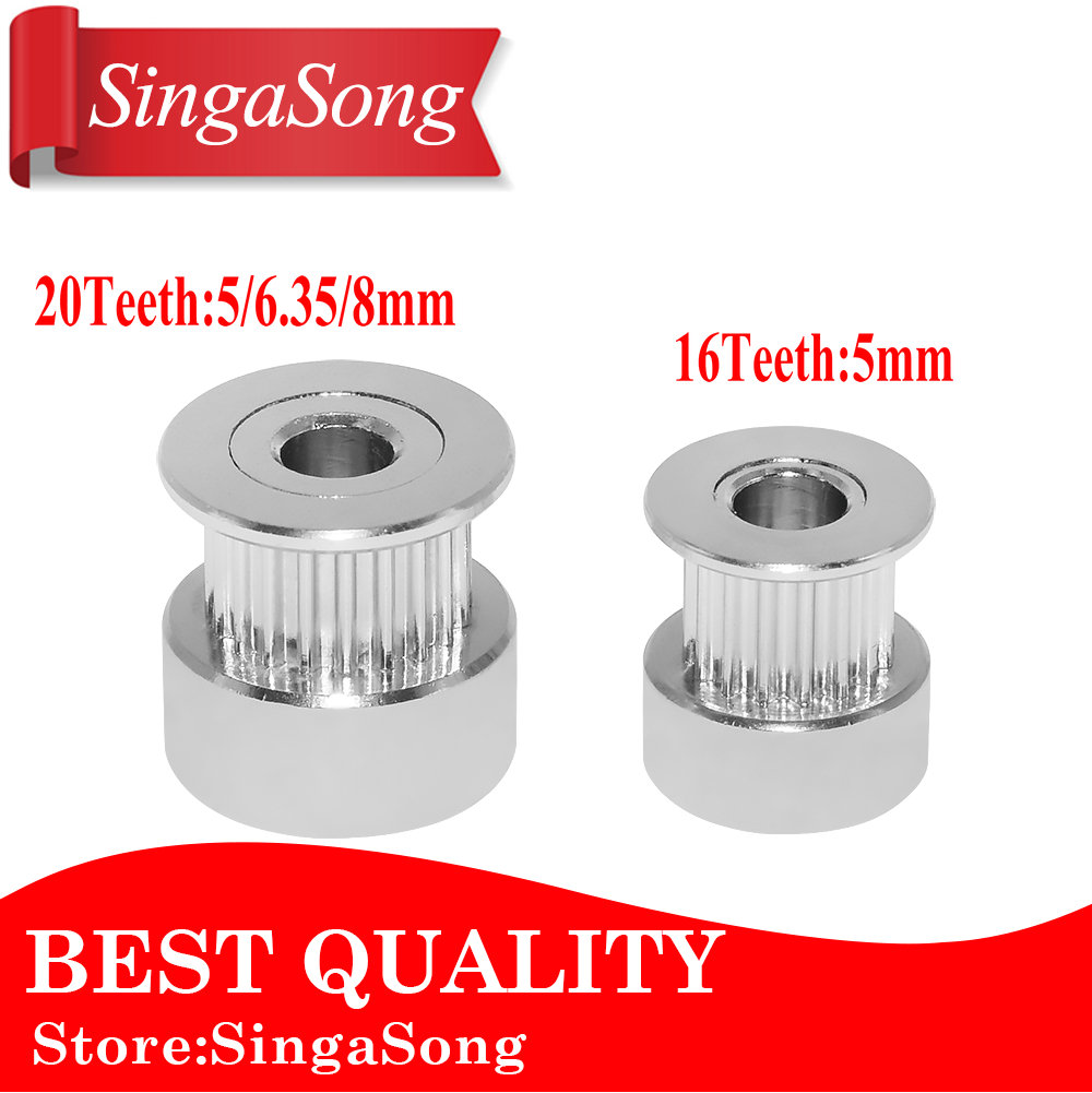 GT2 20Teeth 16 teeth 20 Teeth Bore 5mm/8mm Timing Alumium Pulley Fit for GT2-6mm Open Timing Belt for 3D Printer. gt2 20teeth 16 teeth 20 teeth bore 5mm 8mm timing alumium pulley fit for gt2 6mm open timing belt for 3d printer