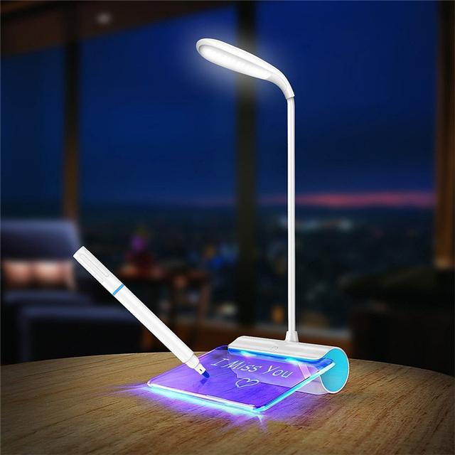 USB Recarregável LEVOU lâmpada de Mesa Com Placa de Mensagem Fluorescente interruptor de Toque 3 Nível de Brilho Flexível LED lâmpada de Leitura de Mesa