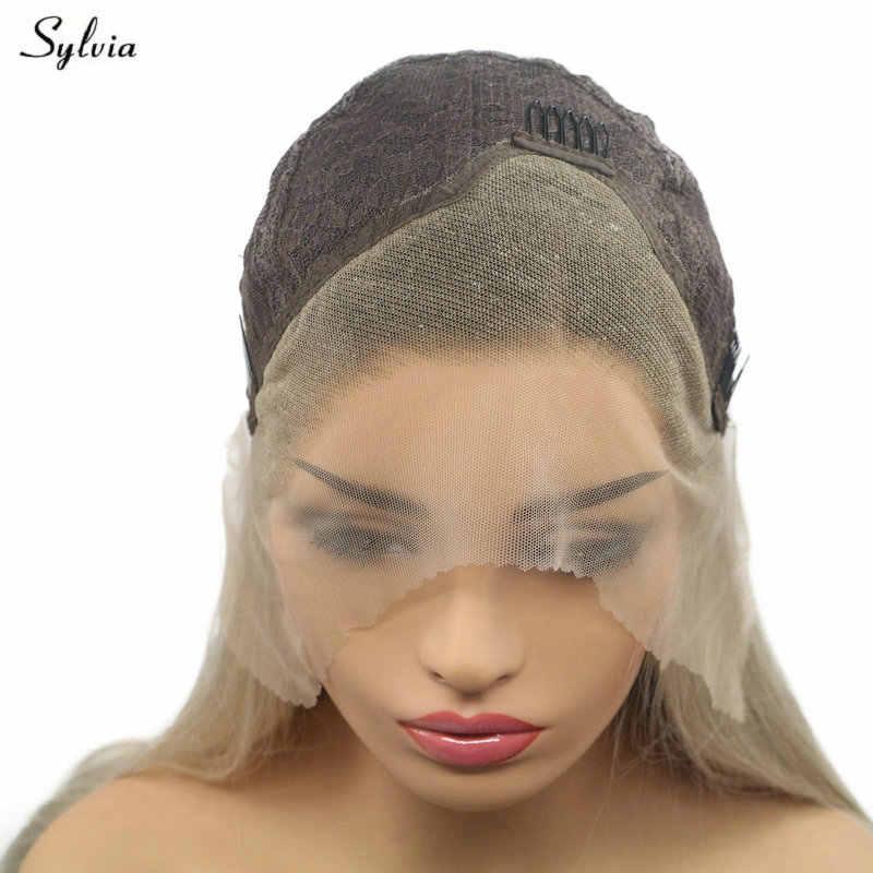 Sylvia Natürliche Haaransatz Gerade Lange Haar Pastell Blau Lila Rosa Spitze Vorne Perücken für Frauen Cosplay Ferien Synthetische Handgemachte