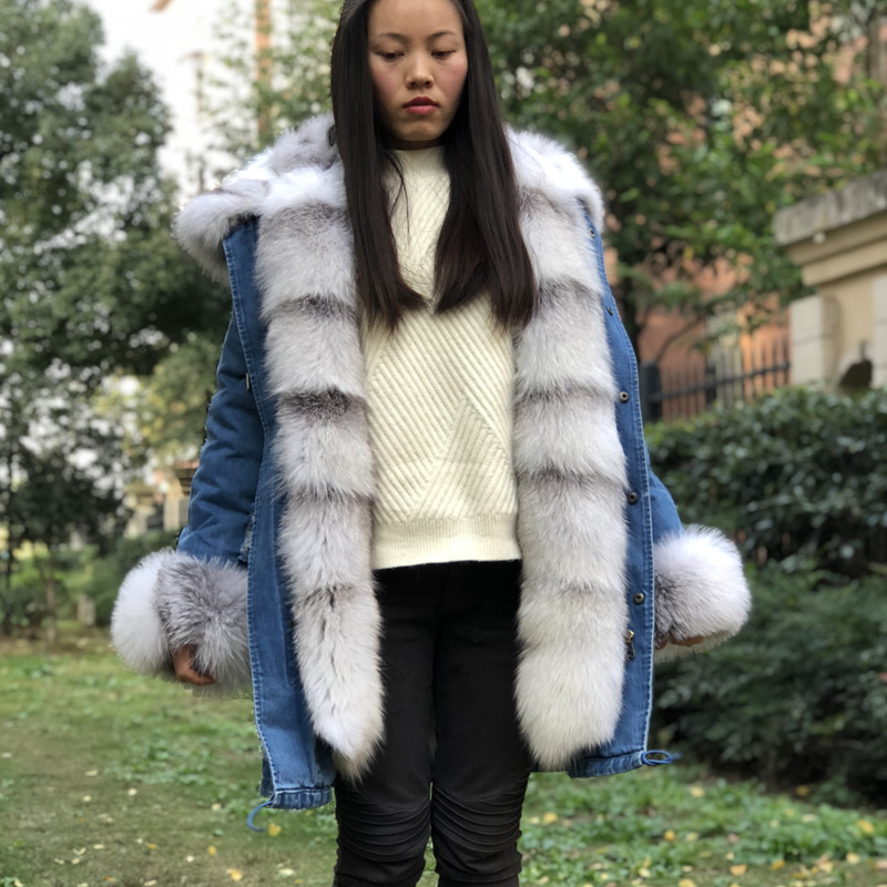 a870b9685d Fandy Lokar Blue Frost Fox Fur jackets Women Natural Fox Fur Parkas Woman  Denim Long Jacket Female Real Fox Fur Liner Detached-in Real Fur from  Women's ...