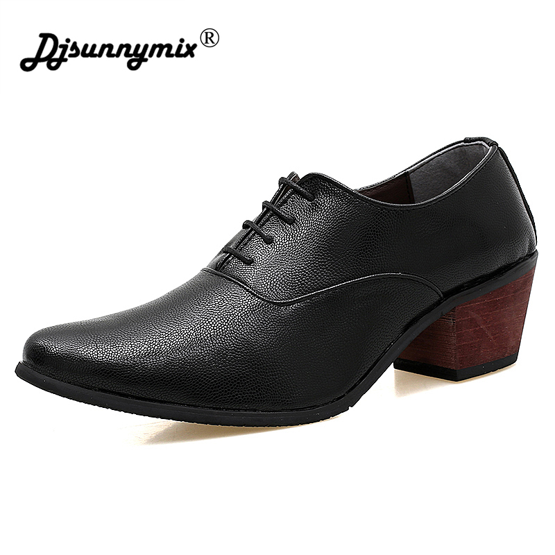 DJSUNNYMIX New Arrival Men Dress Shoes Designer Younger Pointed Toe High Heels Wedding Shoes Man Leather Lace Up retro Shoes
