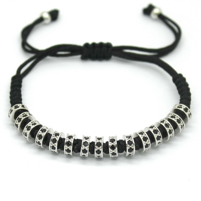 New Fashion Brand Macrame Bracelets, Rose Gold Micro Pave Black CZ Stoppers Beads Strand Macrame Bracelet For Men Jewelry 9