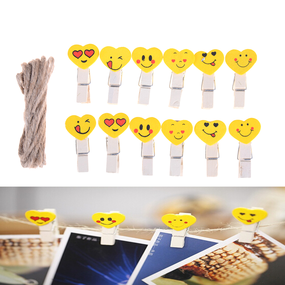 Emoji Emotion Wooden Clip Office Accessories Clip Paper Binder Stationery Accessoires Desk School Clip Persevering 12pcs/set