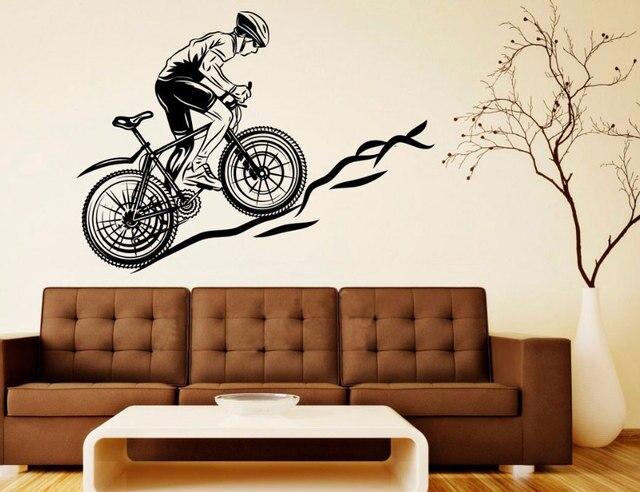 מגניב ספורט אופני הרי אופני מדבקות קיר ויניל מדבקות בית תפאורה סלון חדר שינה נשלף אמנות ציורי קיר 3YD7