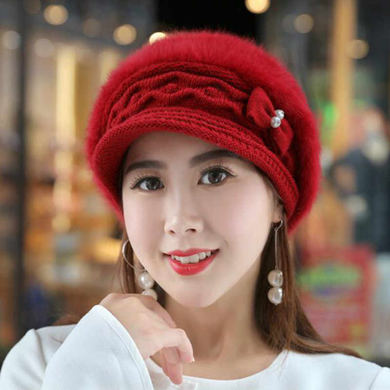 ede0f4d4274 ... fashion rabbit fur women hat solid outdoor thick warm winter newsboy hat  spring autumn female cap ...