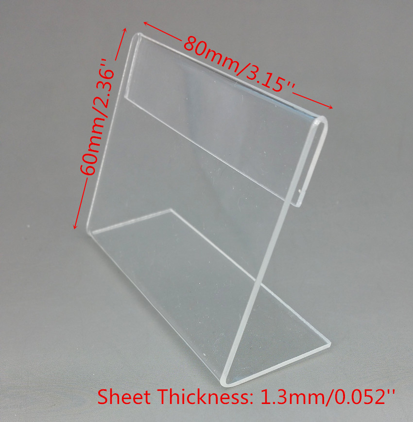 Desk Accessories & Organizer Office & School Supplies Inventive 8x6cm Clear Acrylic Plastic Sign Price Tag Label Display Show Paper Promotion Card Holders T1.3mm L Stand 1000pcs Good Quality