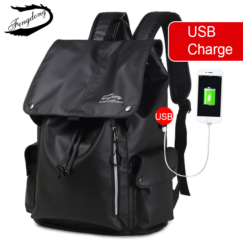 Fengdong 2018 Men Backpack College Students Travel Bag Waterproof External Backpack Male Mochila Bagpack Pack Design Anti Theft-in Backpacks from Luggage & Bags    2