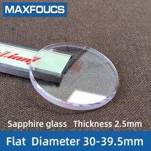 Horloge Glas Sapphire Vervanging Platte 2.5 Mm Dik In Diameters 30 Mm 39.5 Mm Transparant Kristal 1 Stuks