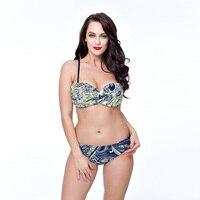 Hot סקסי רטרו פרחוני מודפס בגדי ים בגד ים וחוף אותו עליון צבע & בוטון נשים רצועות שני חלקי ביקיני סט
