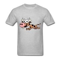 Gelukkig Koe Groothandelsprijs Zomer Mannen Shirts Unieke Print Tees O-hals Korte Mouw Man T-shirts