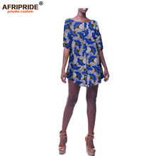 2018 african summer casual blouse for women AFRIPRIDE african print half sleeve o-neck single breasted women blouse A1822004 blouse 1207041 02