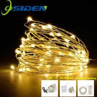 Guirnalda LED de alambre de plata clara guirnalda blanca cálida decoración para fiesta de boda de Navidad para el hogar alimentada por batería USB 10m