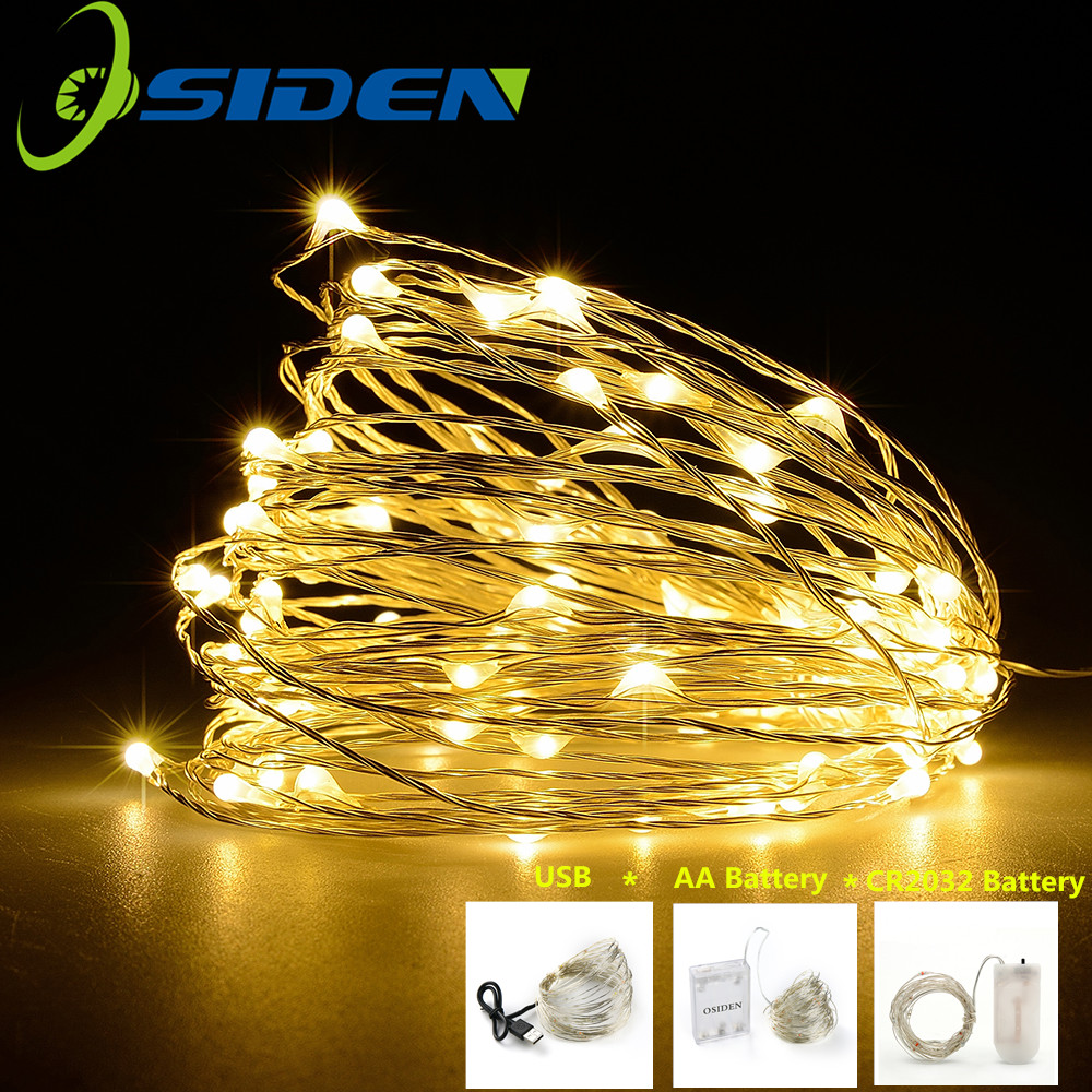 >LED String <font><b>light</b></font> Silver Wire Fairy <font><b>warm</b></font> <font><b>white</b></font> Garland Home Christmas Wedding Party Decoration Powered by Battery batter USB 10m