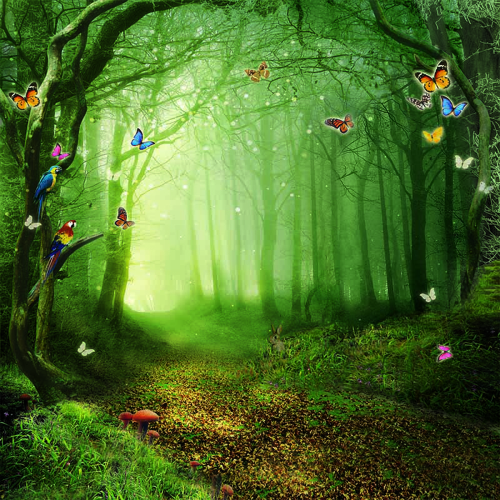 3d Free Fall Nature Wallpaper Fairy Tale Forest Scenic Photography Backdrops Trees