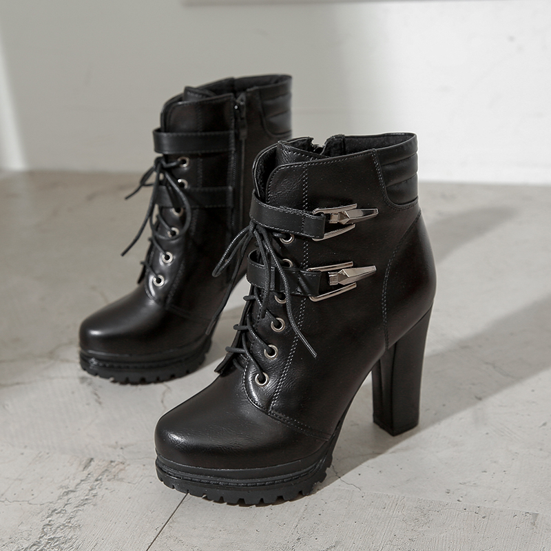 Ladies Winter Shoes Women Platform Boots High Heels Double Buckle Botas Feminina Lace Up Gothic Punk Black Leather Botines Mujer
