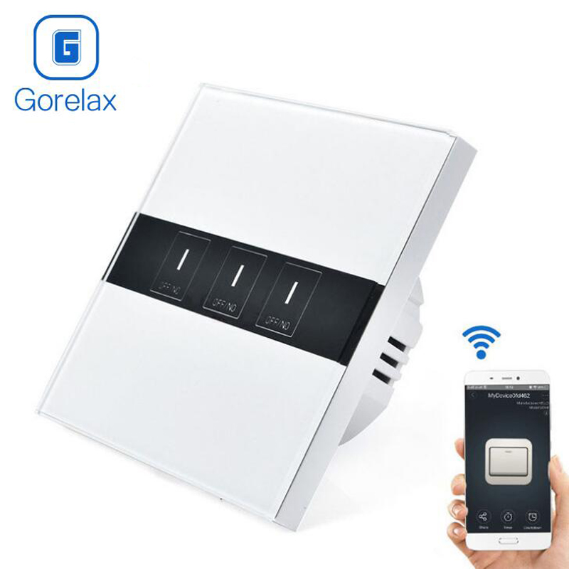Gorelax Smart Home Automation Module Trådlös fjärrkontroll Vägglampa Touch Timer Smart Switch Crystal Glass Panel EU 3gang