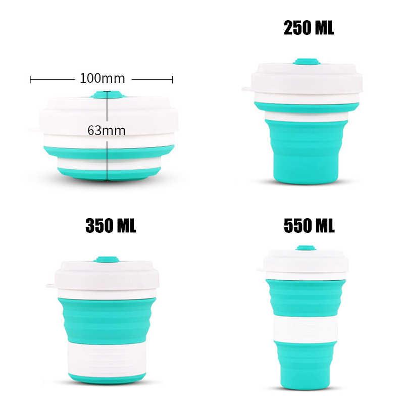550 мл хранение, силикон 5 цветов портативная силиконовая телескопическая Питьевая Складная кофейная чашка Складная силиканая чашка с крышками путешествия