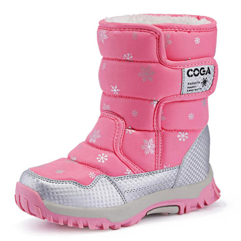 Children Boots Boys & Girls Snow Boots Princess Hook & loop Platform Kids Winter Shoes waterproof non-slip For 3-12 Years Old ...