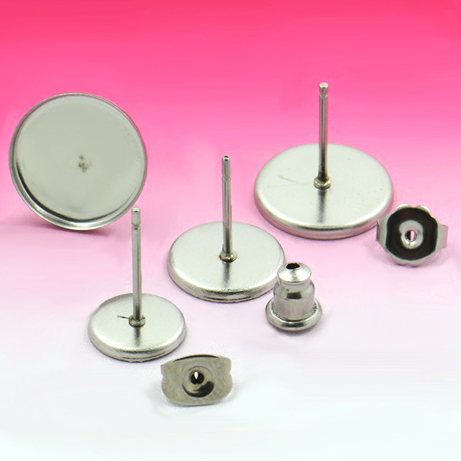 100sets, <font><b>Stainless</b></font> <font><b>steel</b></font> Stud Earring with inner 10/12mm square <font><b>Bezel</b></font> <font><b>Setting</b></font> <font><b>Tray</b></font> for Cameo Cabochons
