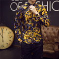 2016 Золотые Рубашки Мужские Фантазии Рубашки Люксовый Бренд Одежда Мужская цветочные Рубашки Royal Барокко Camisas Большой Размер 5XL Клуб Наряды тонкий