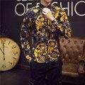2016 Camisas Para Hombre Camisas de Lujo de Oro de Lujo Para Hombre Marca De Ropa Floral Camisas Real Barroco Camisas Grandes del Tamaño 5XL Trajes Del Club delgado