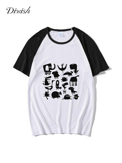Diwish Summer Tops for Women 2019 Harajuku Aesthetics Tshirt Cartoon Print Short Sleeve Tee Shirt Casual O-neck Women Tee Top