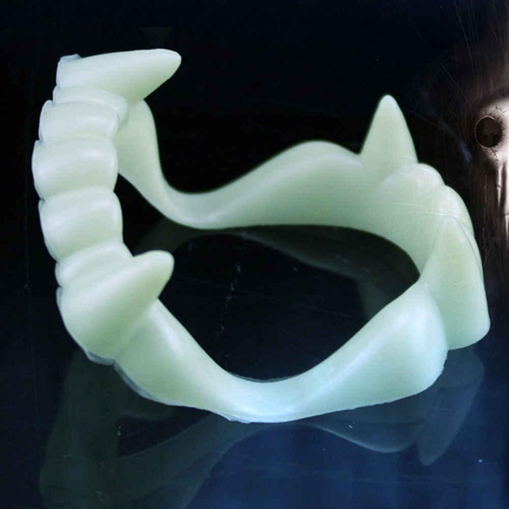 1 пара Забавный прикол сувенир светящиеся протезы Косплей зомби или вампира зубы Хэллоуин реквизит Светящиеся в темноте игрушки