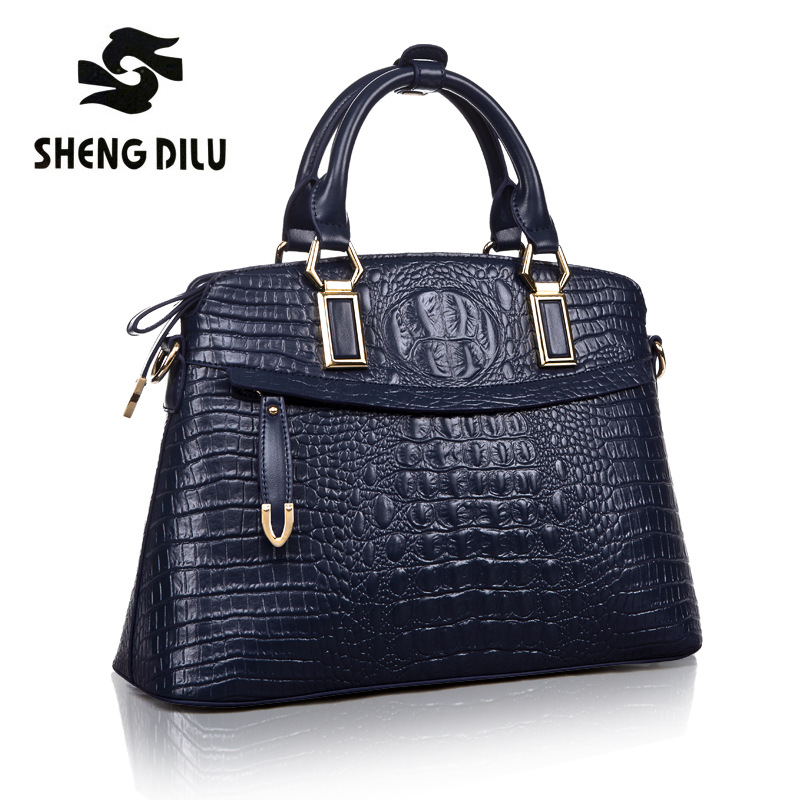 Authentic Women Crocodile Bag 100% Genuine Leather Women Croco Handbag Hot Selling Tote Women Shell Bag Luxury Brand Bags Blue yuanyu new 2017 new hot free shipping crocodile women handbag single shoulder bag thailand crocodile leather bag shell package