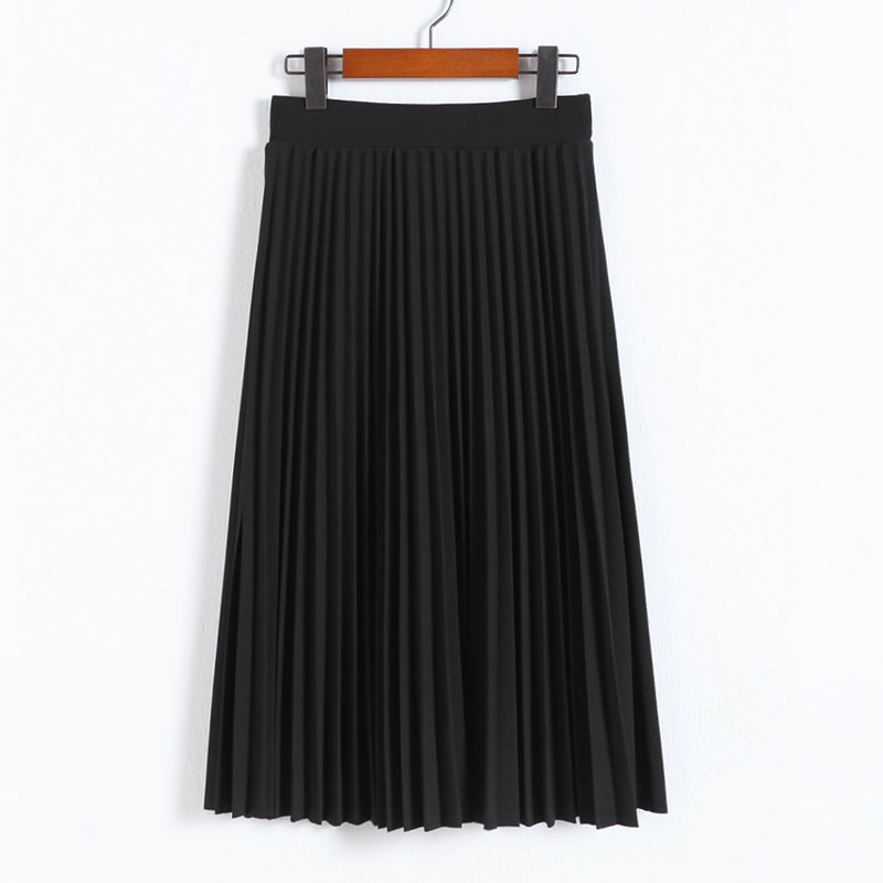 CRRIFLZ 19 Spring Autumn Fashion Women's High Waist Pleated Solid Color Half Length Elastic Skirt Promotions Lady Black Pink 9