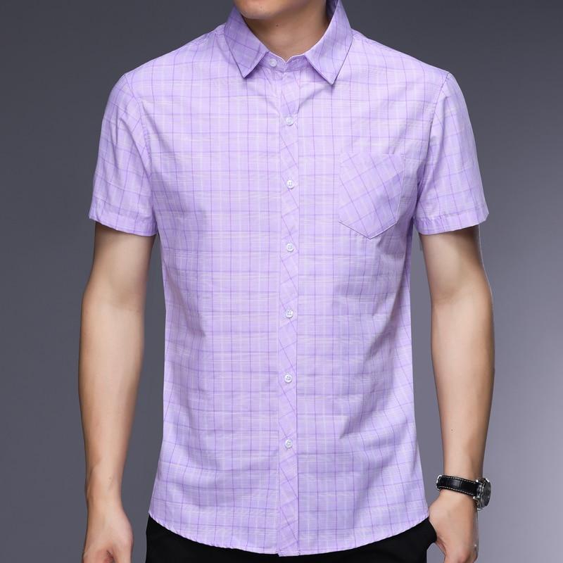 2018 summer mens shirts cotton short sleeve casual regular fit men plaid shirt social dress clothing high quality jersey 4011