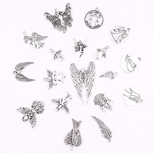 All 10pcs Silver Metal Angel Wings Charms Pendants for Jewelry Making DIY Crafts Charm for Bracelets Earrings Necklaces Making(China)
