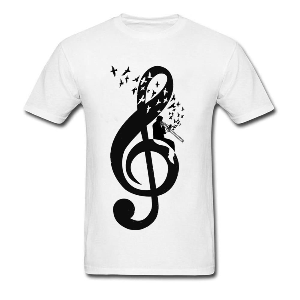 2018 Graduation T Shirts Men Treble Clef Trombone Designer Shirt Mens Tshirt Full Cotton Hip Hop T Shirt Bass Music