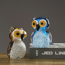 Crystal glass owl crafts Coloured glaze Marine family Figurines Lovely animal Miniatures fish tank furnishing Decor