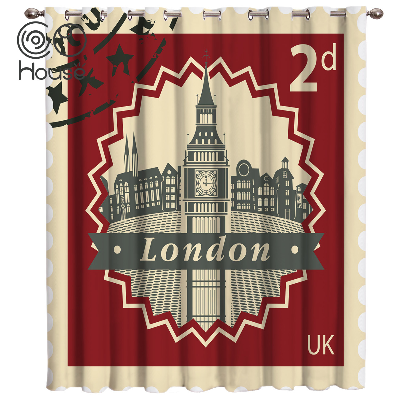 Vintage London Stamp Window Treatments Curtains Valance Room Curtains Large Window Window Blinds Living Room Black
