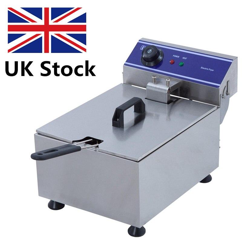Pot profond de friteuse de 1 PC, Machine commerciale de friteuse d'acier inoxydable de ménage pour la pomme de terre, DZL-10B de Machine de friture de poulet