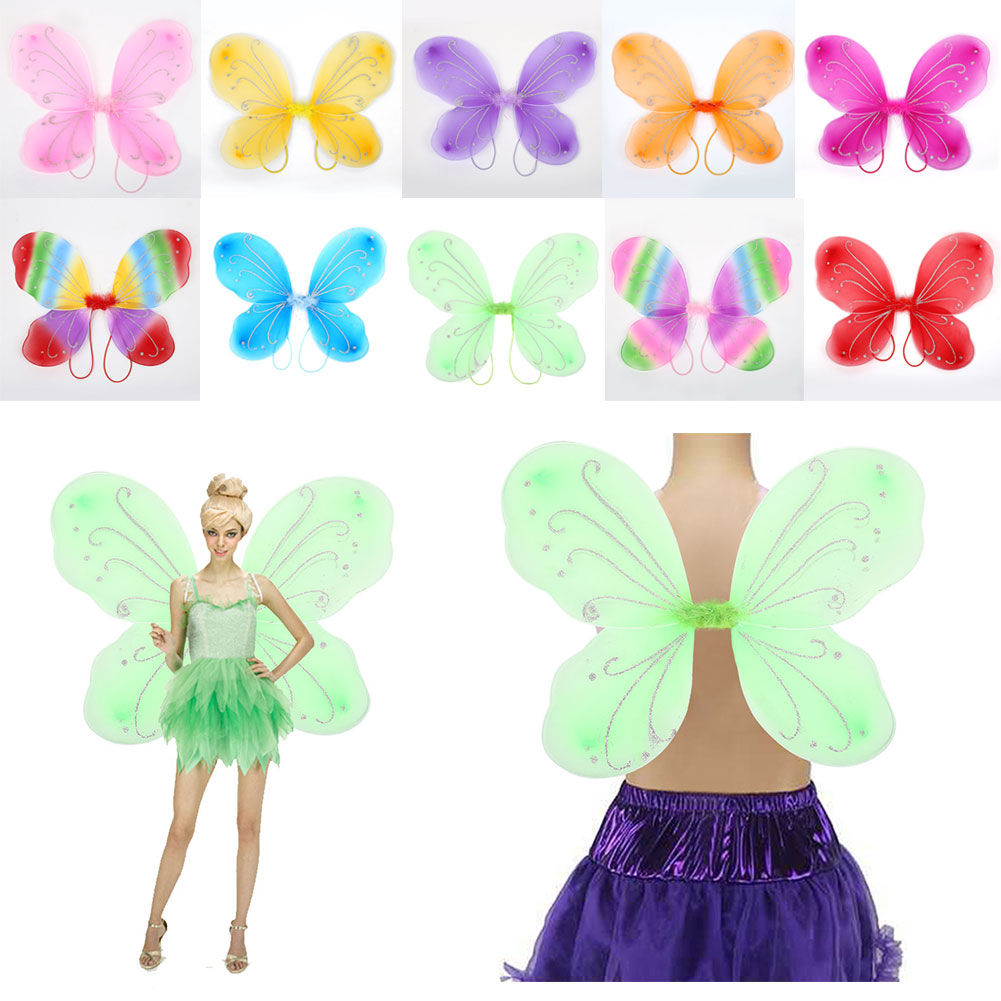 Hot Pink Adult Tinkerbell Pixie Butterfly Fairy Wings Dress Up Girls Costume