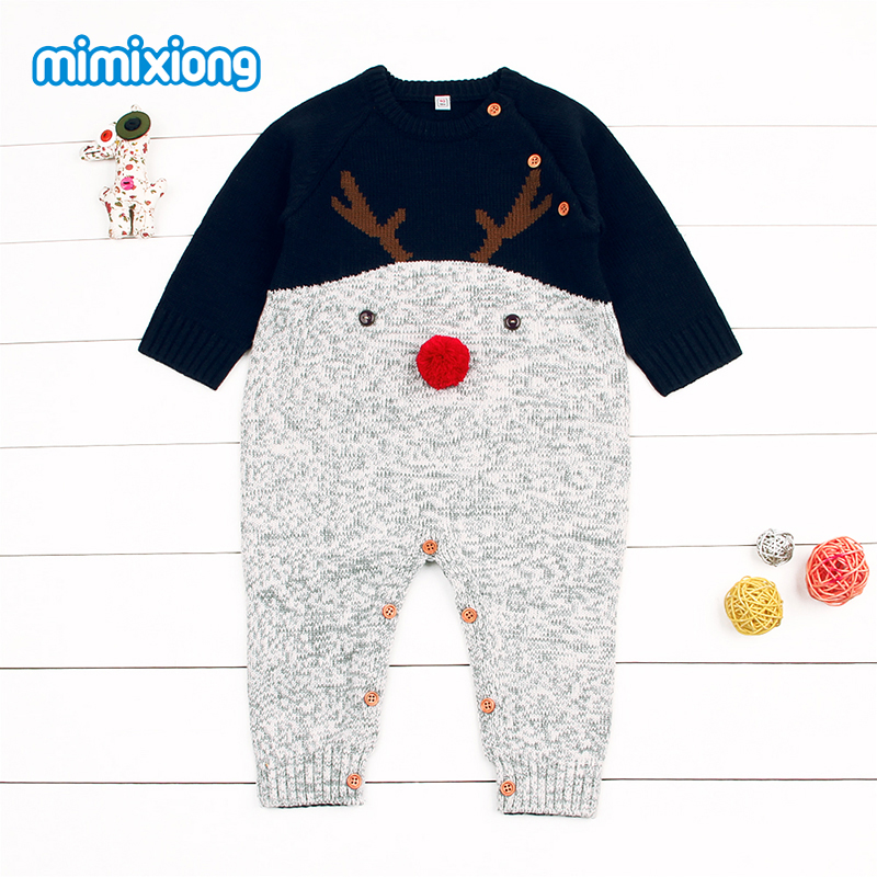 Babies Christmas Reindeer Romper Long Sleeve Newborn Boys Girls Knit Winter Jumpsuits Cartoon Animal Toddler Infant Warm Overall цена