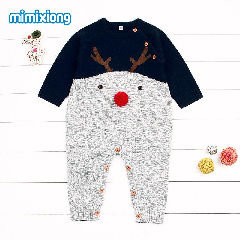 Babies Christmas Reindeer   Romper   Long Sleeve Newborn Boys Girls Knit Winter Jumpsuits Cartoon Animal Toddler Infant Warm Overall