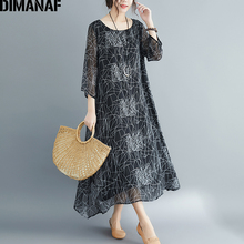 DIMANAF Plus Size Women Dress Vintage Long Sleeve Summer Sundress Big Size Female Elegant Lady Vestidos Loose Print Dress 2019