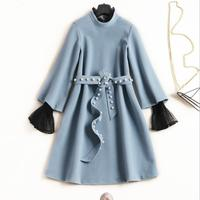 clearance sale European and American women's 2018 winter clothing new The horn sleeve collar Nail bead belt cloth dress