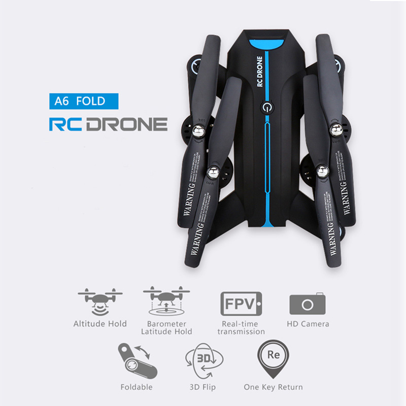 A6 RC Helicopter WIFI FPV RC Drone 2.4G Remote Controller With HD Camera Altitude Hold Mode Foldable Arm RC Quadcopter Drone jjrc h39wh rc drone with camera fpv quadcopter 720p headless mode rc helicopter altitude hold drones with camera hd foldable arm