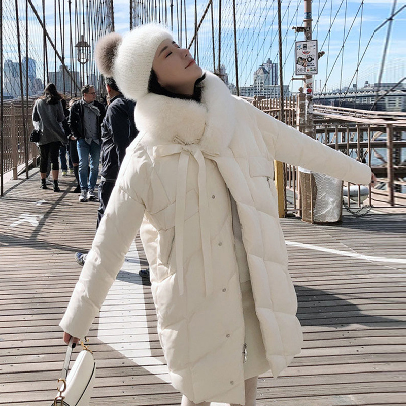 Winter Jacket Women Duck Down Coat 2019 Large Real Natural Fox Fur Collar Long Coat Warm Parkas Outerwear Thick Female Jackets