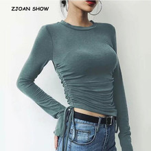 Vintage Lacing up Bandaged Waist T-shirt 2018 New Woman Slim Fit t shirt Round collar long sleeve tee Autumn Tops 8 colors