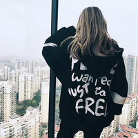 Women Hoodies Long Sleeves Oversized Letter Print Harajuku Zipper Loose Sweatshirt And Pullover Plus Size Hoody Bts Kpop Clothes