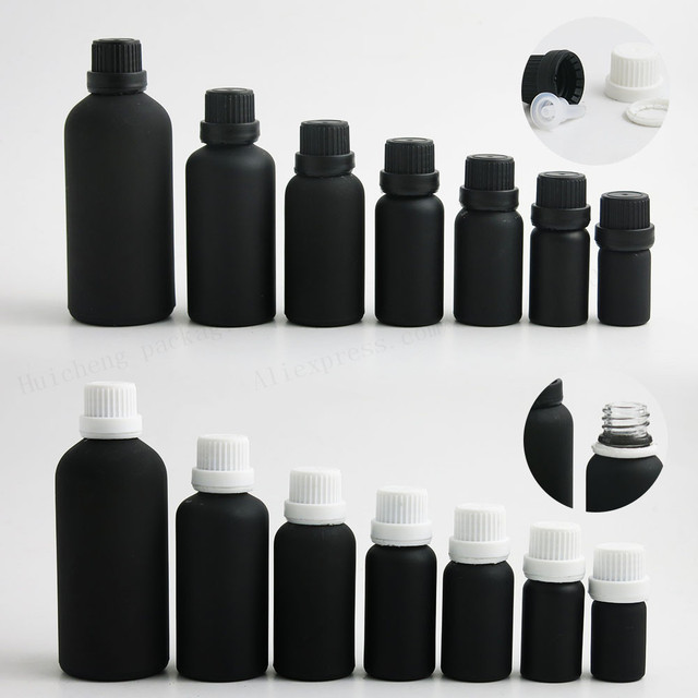 66fa5afc1ba6 Empty Paint Frost Black Essential Oil Bottle With Tamper Evident Cap 5m  10ml 15ml 20ml 30ml 50ml 100ml 200 PCS -in Refillable Bottles from Beauty &  ...