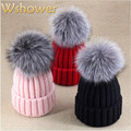 Fashion Solid Men Women Real Natural Silver Fox Fur Ball Winter Hat Warm Pompom Knitted Beanie Hat Skullies Cap For Gift