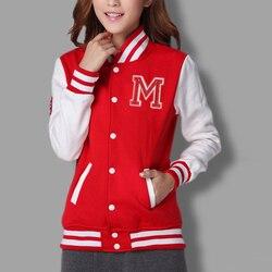 M logo klasyczne bombowiec kurtka damska kobiety płaszcz kobiet jesień sweter na co dzień zespół patchwork Baseball o-neck topy bolero 2019 2